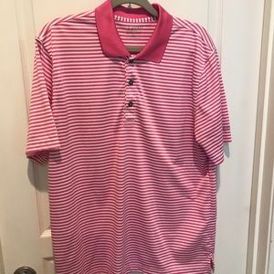 Pink-Striped IZOD Performance Golf Polo